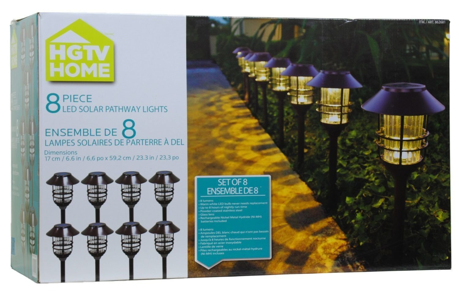 amazoncom hgtv solar pathway lights 8pc set wall porch lights garden u0026 outdoor
