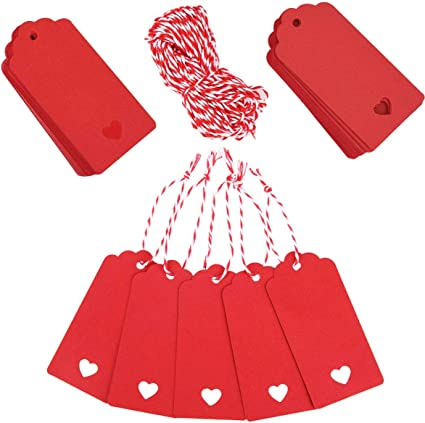 Red Tags Valentine Gift Tags 100 PCS Heart Shaped Kraft Paper Tags Price Tag with 300 Feet Red and White Twine for Valentines Day Wedding Favor Party Decorations
