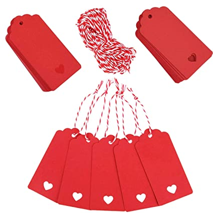 Amazon Com 100 Pieces Valentine Gift Tags Red Kraft Paper Wedding