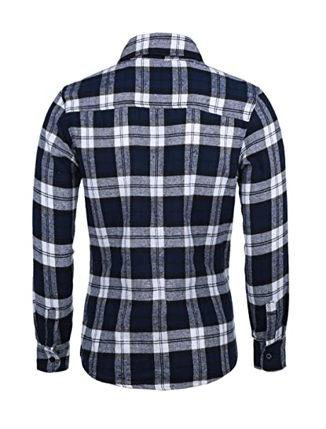 4ce3bc8a398a uxcell Men's Long Sleeves Check Print Casual Plaid Flannel Shirt at Amazon  Men's Clothing store: