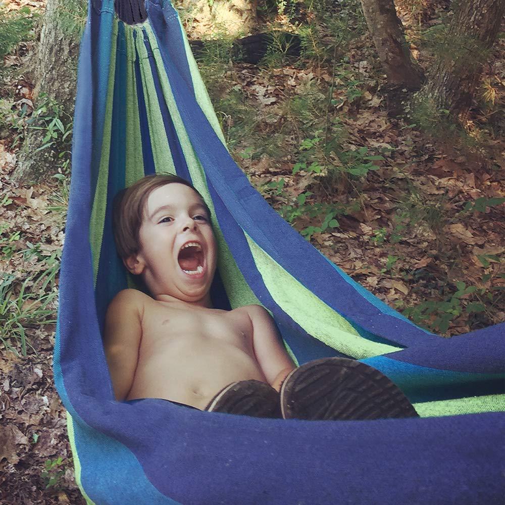 Blau Camping Garten Tragkraft 300 kg Tragbar mit Tragetasche f/ür Rucksacktouren KEPEAK Outdoor Baumwolle h/ängematte 280 x 150 cm Hinterhof