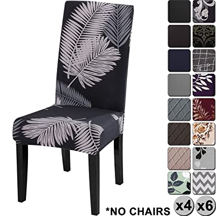 Brilliant Yisun Modern Stretch Dining Chair Covers Removable Washable Spandex Slipcovers For High Chairs 4 6 Pcs Chair Protective Covers Black Falling Feather Pdpeps Interior Chair Design Pdpepsorg