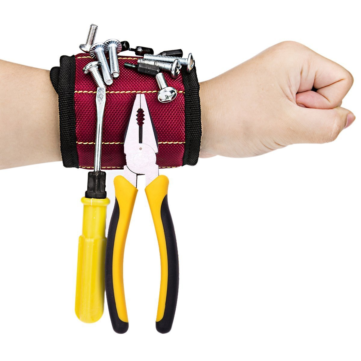 Heavy Duty Magnetic Wristband with Super Strong Magnets for Holding Screws, Nails, Drill Bits Red