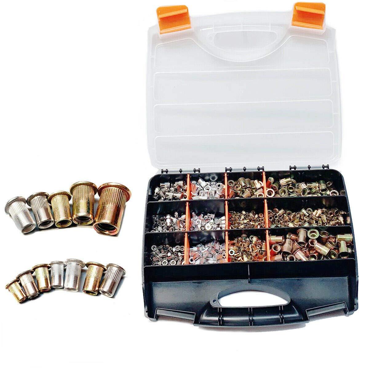HOTSTORE 900pcs Rivet Nuts Assortment Kit, Stainless Steel Flat Head Threaded Insert Nutsert Rivet Nut Assortment Kit -M3 M4 M5 M6 M8 M10 by HOTSTORE