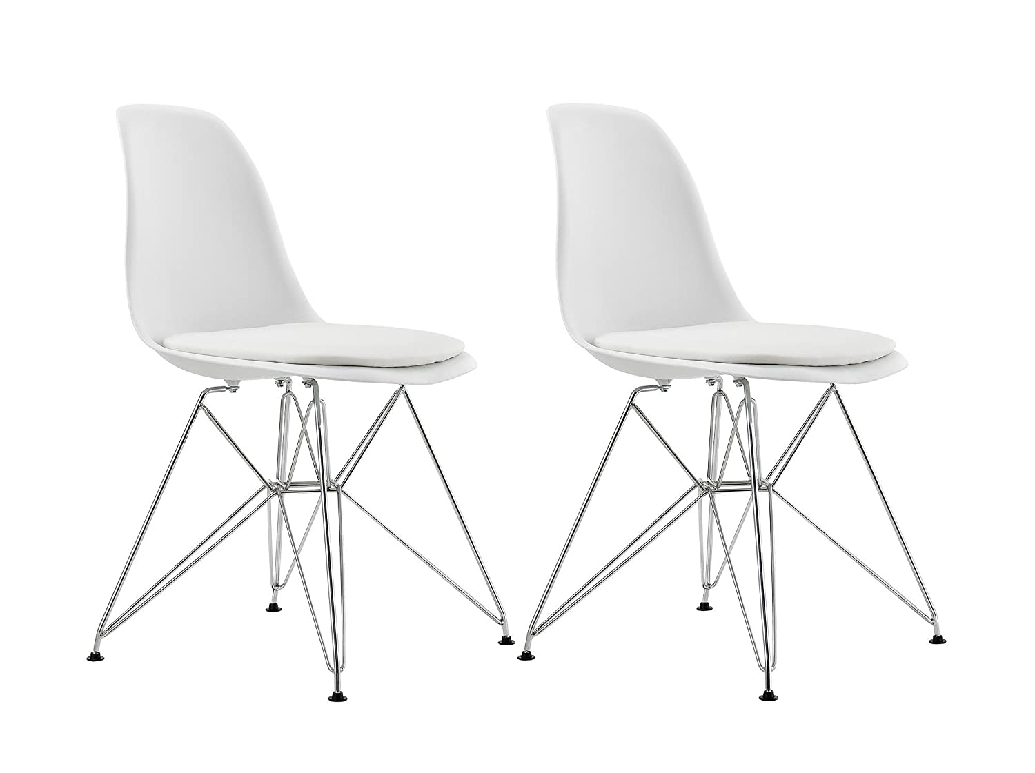 DHP Mid Century Modern Molded Chair with Upholstered Seat - Set of 2 - White