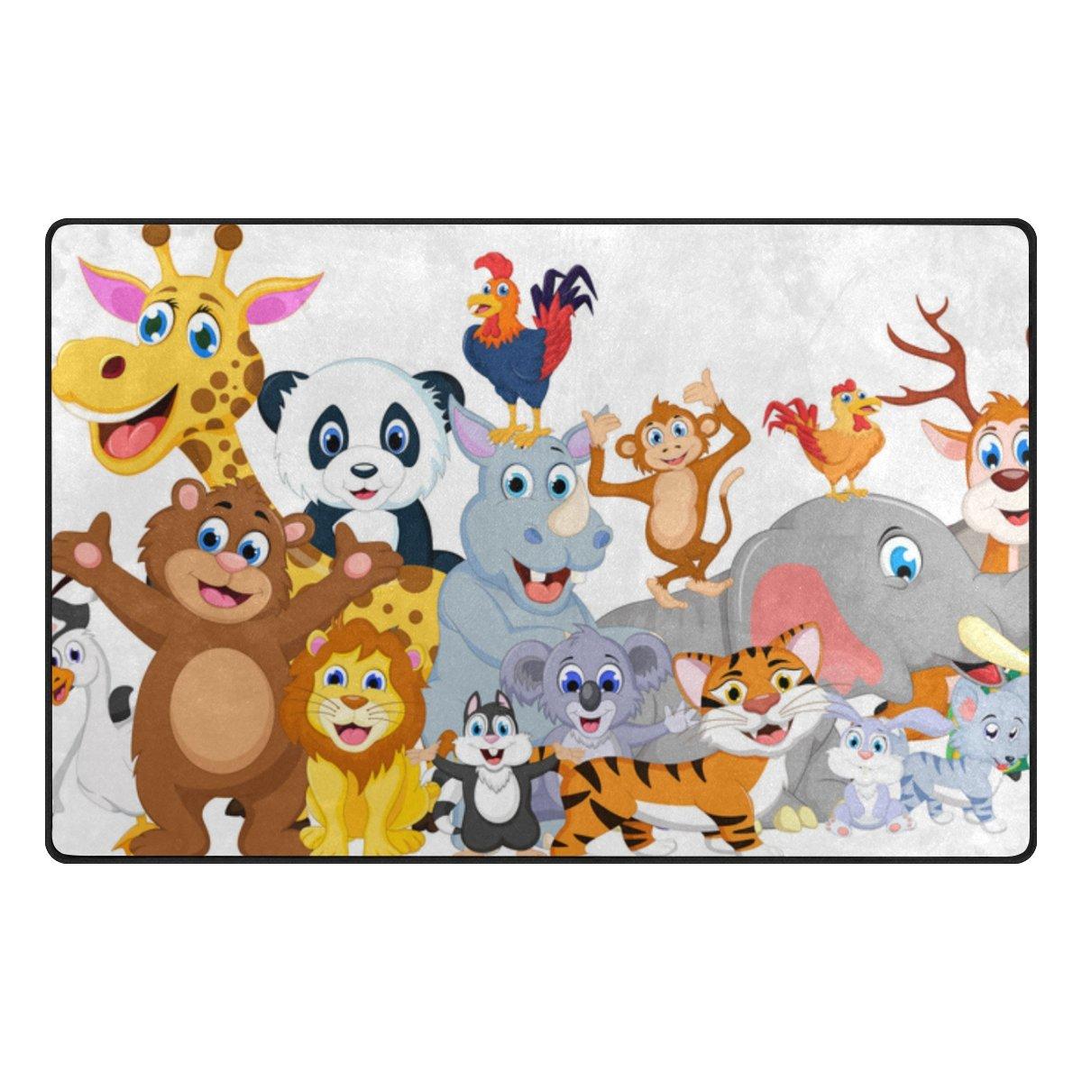 U LIFE Cute Kids Tropical Animal Forest Jungle World Map Large Doormats Area Rug Runner Floor Mat Carpet for Entrance Way Living Room Bedroom Kitchen Office 63 x 48 Inch