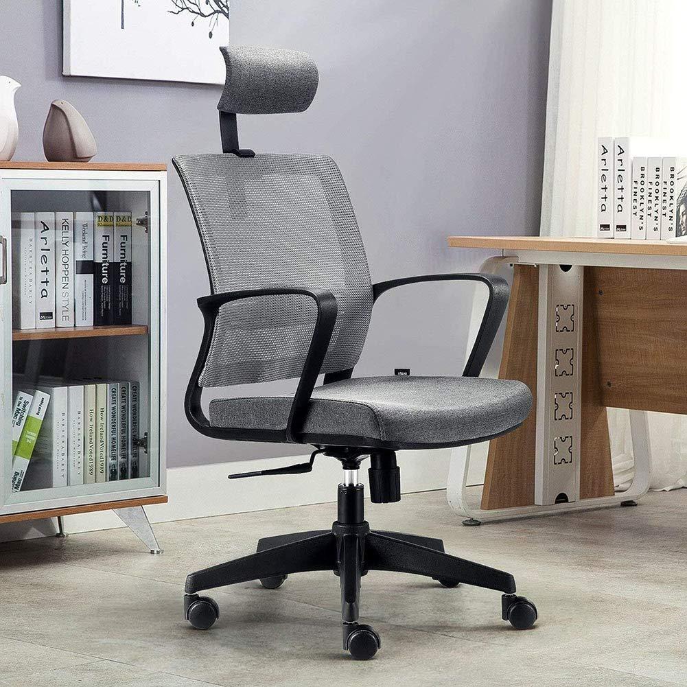 QIDI-heminredning mesh baksida ergonomisk kontorsstol svängbar skrivbordsstol med justerbart nackstöd, sitthöjd, lutningsspänning och ländrygg stöd (färg: grå) Grått