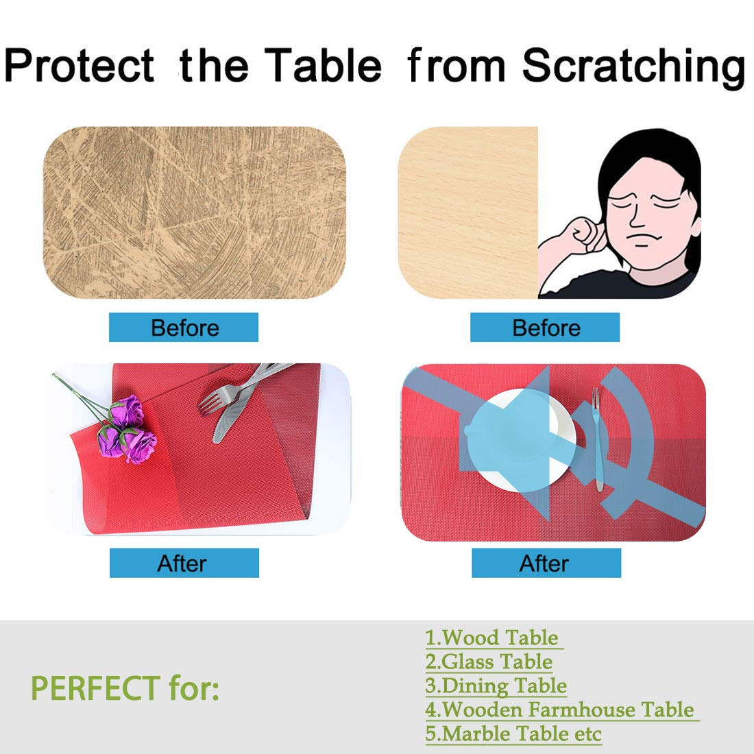 Heat-Resistant Table Mats PVC Stain Resistant Non-Slip Washable Place Mats for Dining Table Brown uxcell Placemats Set of 4
