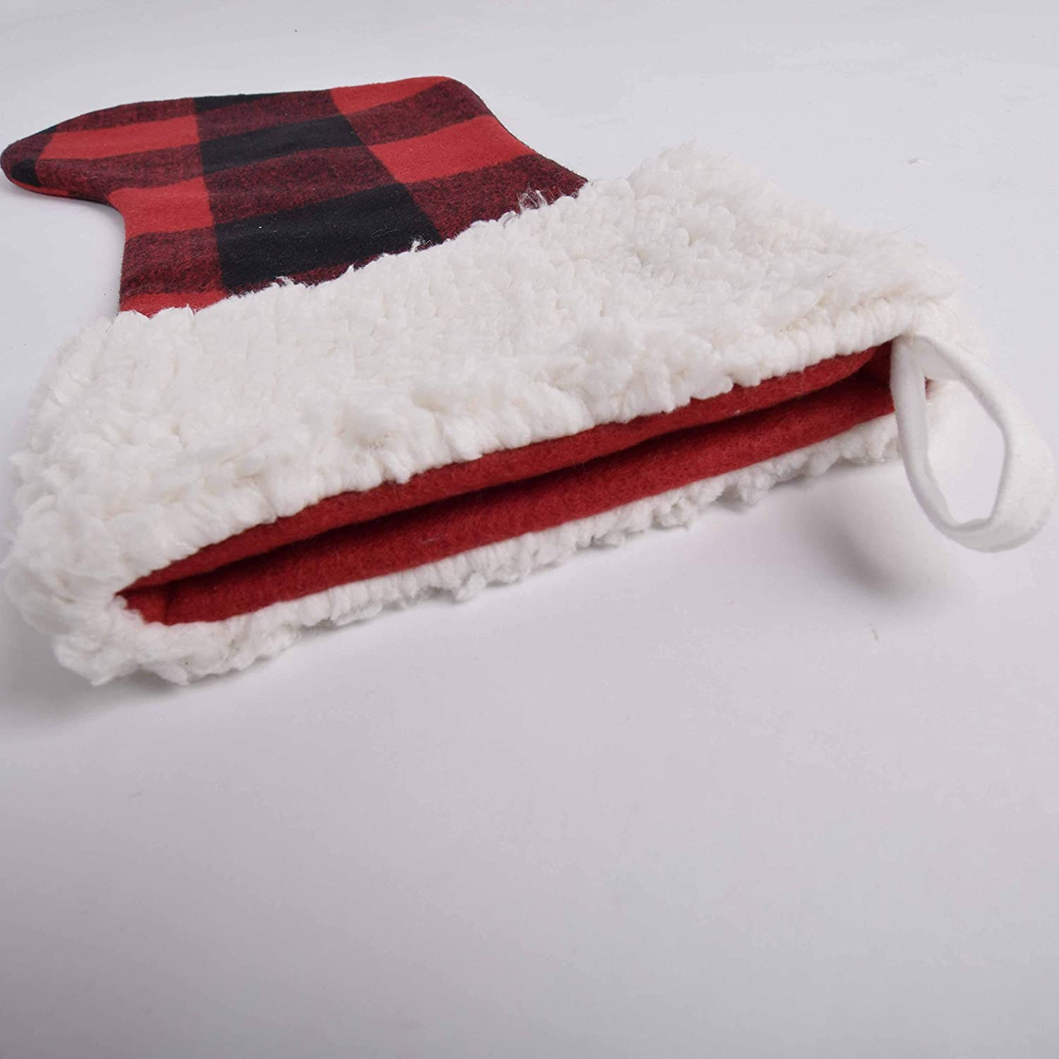 Gireshome red Buffalo Check Plaid with Sherpa Cuff Decoration Christmas Stocking Xmas Tree Decor Festival Party Ornament 10x18