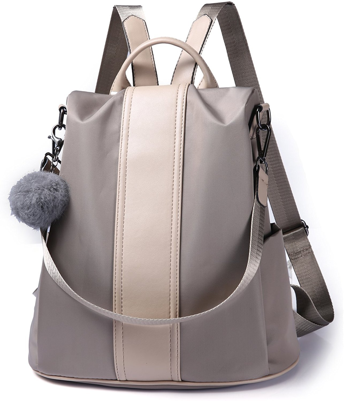 Riavik Women Backpack Purse Waterproof Nylon Anti-theft Rucksack Scool Shoulder Bag for Girls Nylon-Khaki