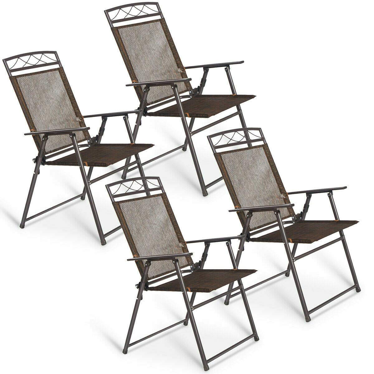 GJH One Patio Folding Sling Chairs Steel Camping Deck Garden Pool Set of 4
