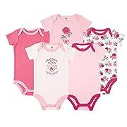 Hudson Baby Unisex Baby Cotton Bodysuits, Tea Party 5-Pack, 12-18 Months (18M)