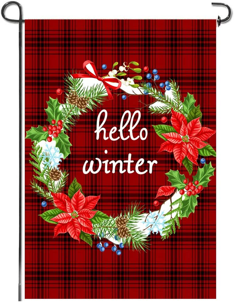 Winter Buffalo Plaid Wreath Garden Flag Merry Christmas Yard Rustic Burlap Vintage Small Double Sided New Year Bunting Premium Hanging Banner Lawn Porch Indoor Outdoor House Decoration, 12x18 Inch