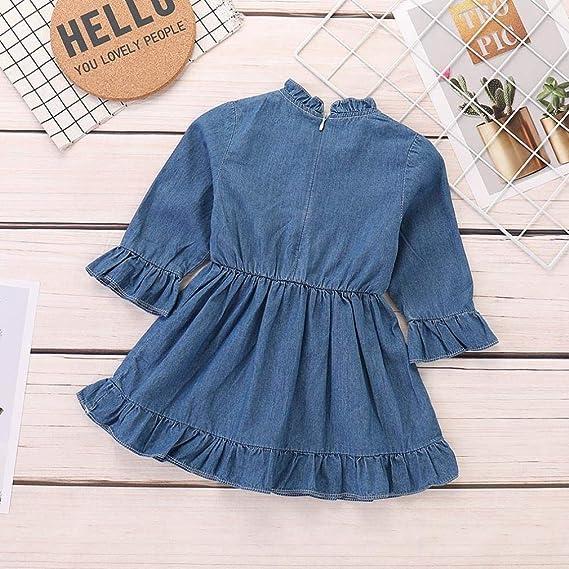 5e5daf7b9 Amazon.com: Dinlong Toddler Infant Baby Girls Dress Long Sleeve Denim Solid Princess  Clothes: Clothing