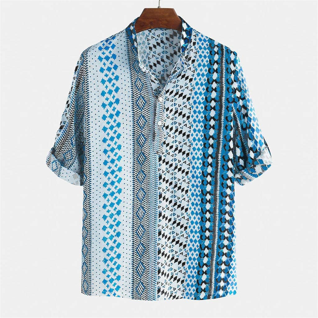 Yajiemen Mens Printed Chest Pocket Loose Breathable Short Sleeve Casual Buttons Shirt