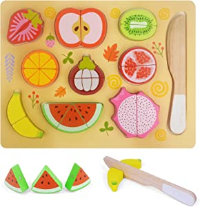 Zovi 11 PCS Wooden Magnetic Cutting Fruits Vegetables Cuttable Toy Kitchen Pretend Play Food Set for Kids Toddlers Gift for Boy Girl Birthday