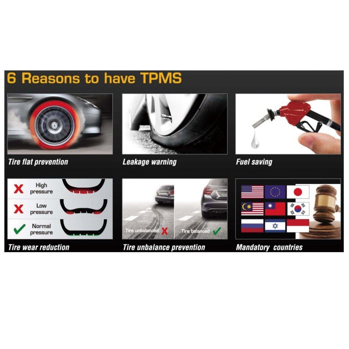 beishuo automático de inalámbrico de energía sensores externos de presión de los neumáticos sistema de vigilancia inteligente DIY versión (TPMS): Amazon.es: ...
