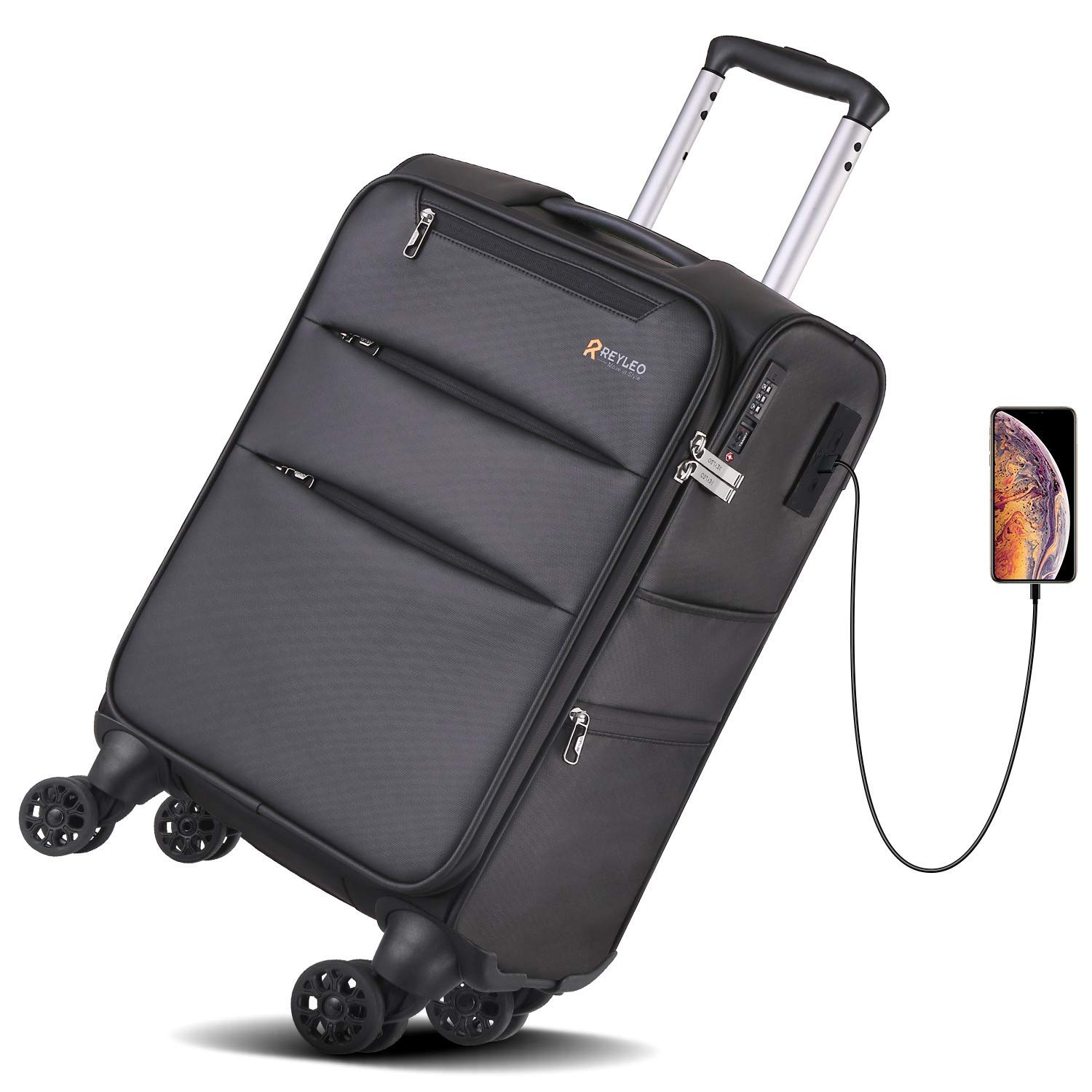 REYLEO 20 Inch Carry On Luggage Softside Spinner Luggage 8-Wheels Suitcase Built-in YiF TSA Lock with USB Charging Port