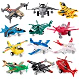 Liberty Imports Set of 12 Pull Back Airplanes Vehicle Playset - Variety Pack of Helicopters, Stealth Bombers, Fighter…