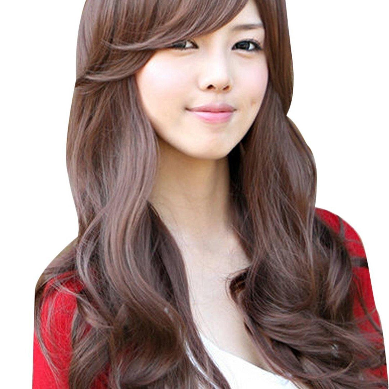 LUQUAN Girl Long Curly Hair Wig Repair Face Fresh Cute Wig