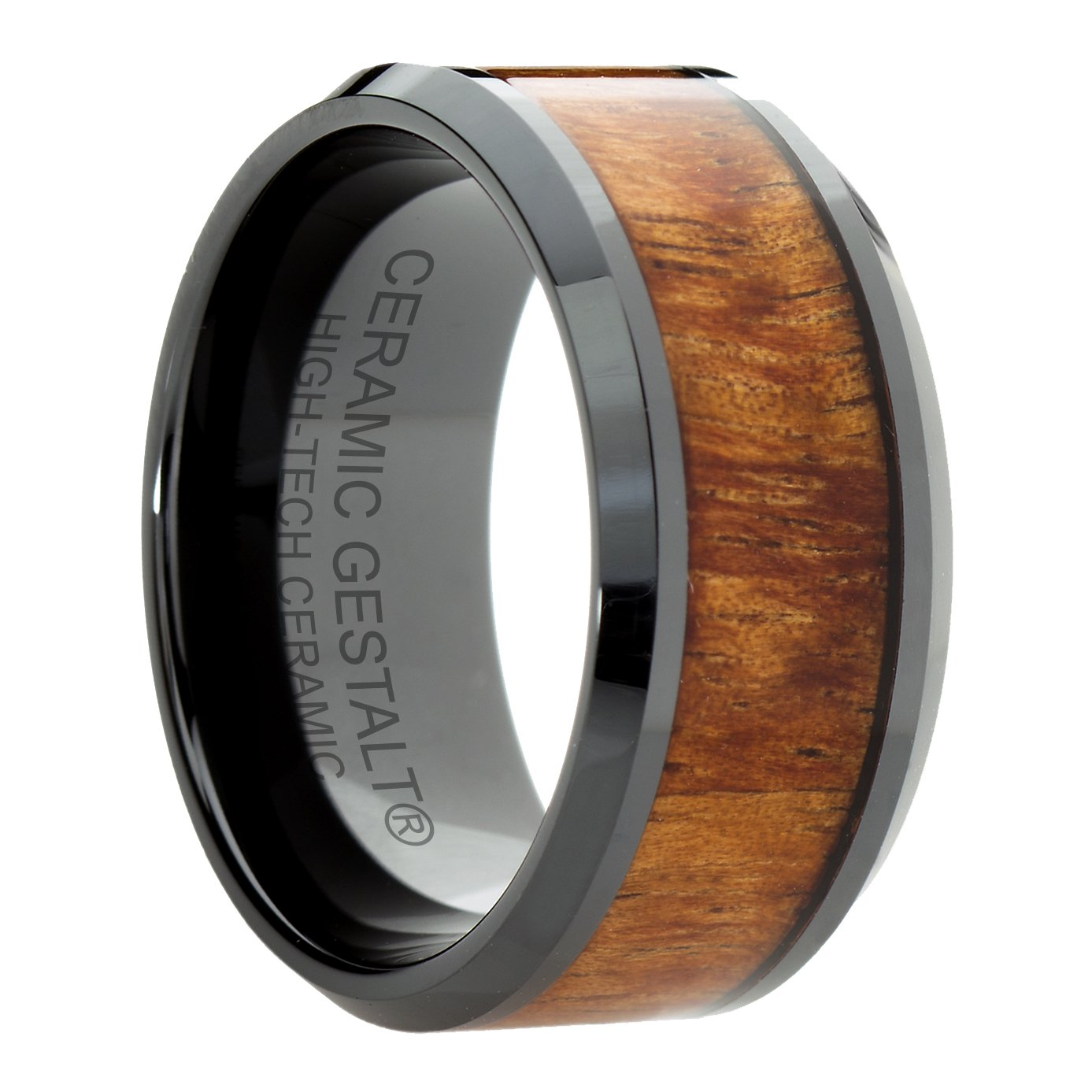 Black Ceramic Ring With KOA Wood Inlay by CERAMIC GESTALT - 10mm. Comfort Fit. RBL10KOAS11