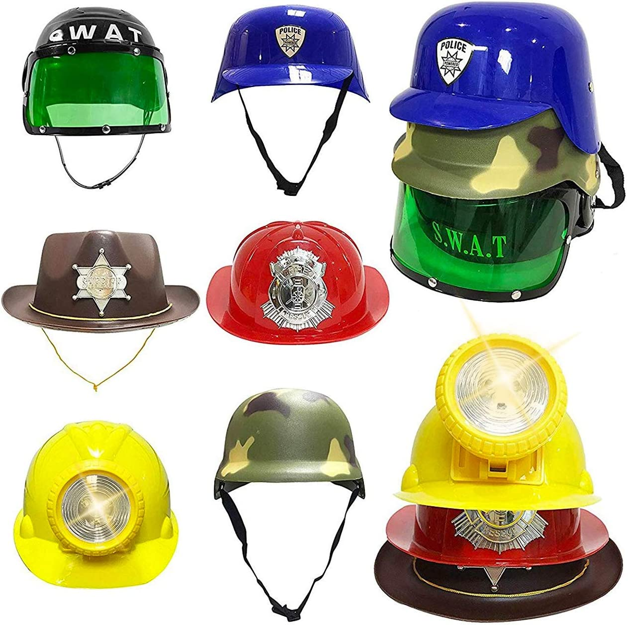Liberty Imports Set of 5 - Dress Up Pretend Role Play Hats Helmets for Kids  - Halloween Costume Role Play Variety Pack (Police, Fireman, Construction,