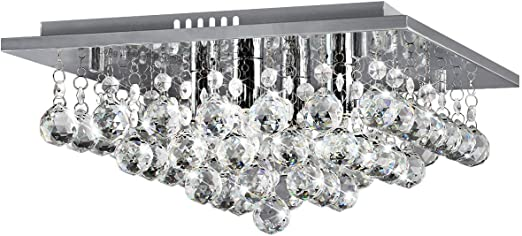 Large Contemporary Chrome Crystal Chandelier