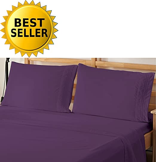 Egyptian Comfort 1500 Count 4 Pieces Bed Sheet Set King Purple Good Deal !
