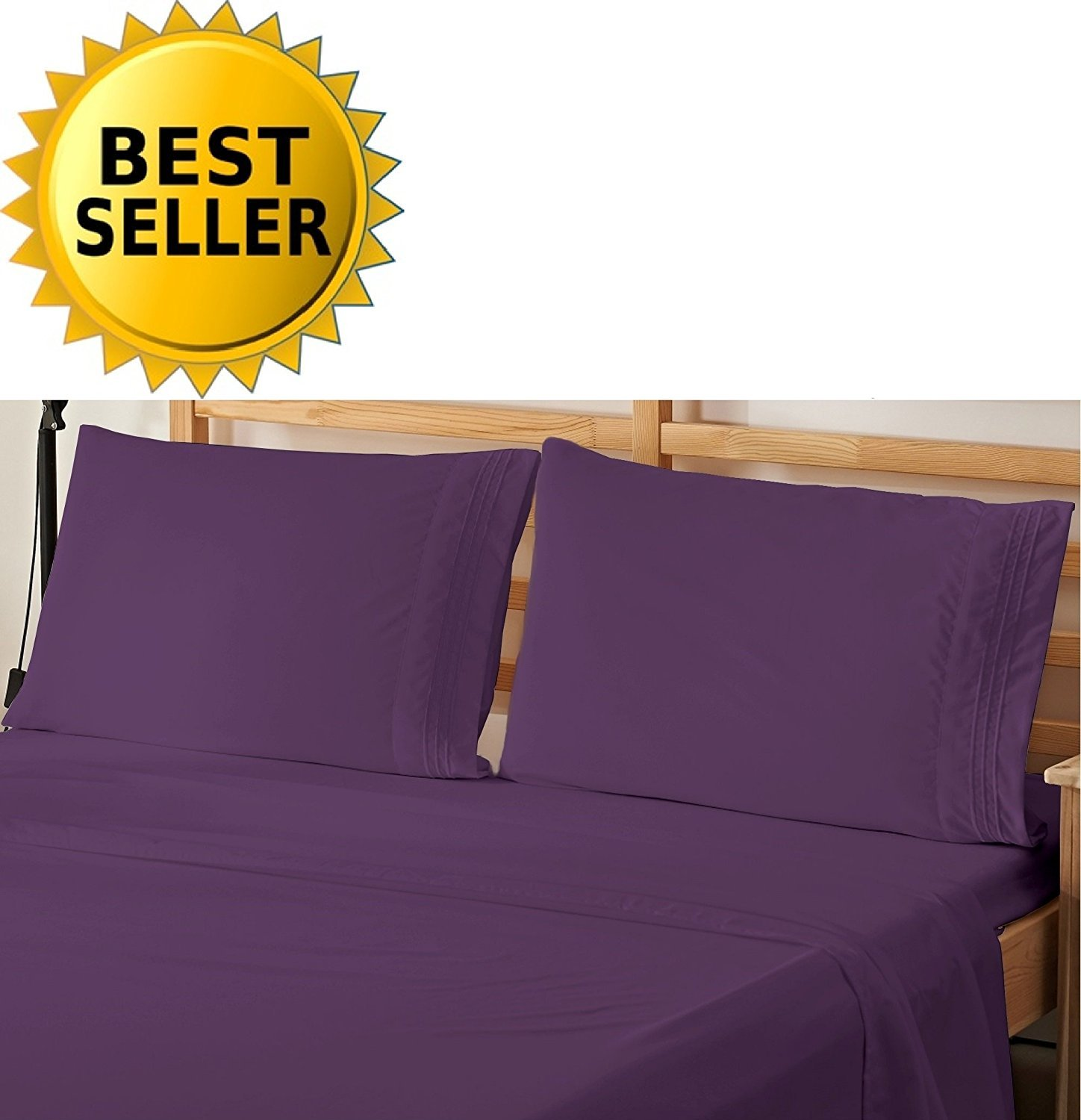 4-Piece Bed Sheet Bedding Set California King, Eggplant-Purple
