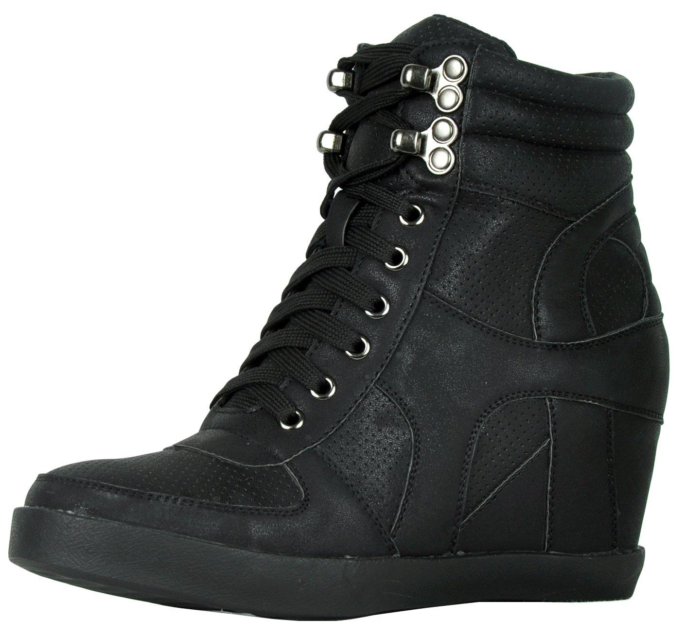 Refresh Footwear Women's High Top Hidden Wedge Fashion Sneaker (8.5 B(M) US, Black)
