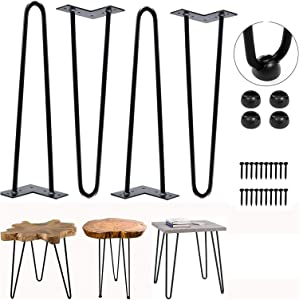SISI Hairpin Furniture Legs 16 inch,Set for 4 Heavy Duty Metal Legs for DIY Furniture,Desk, Coffee Table, Night Stand and Bench with Pad.