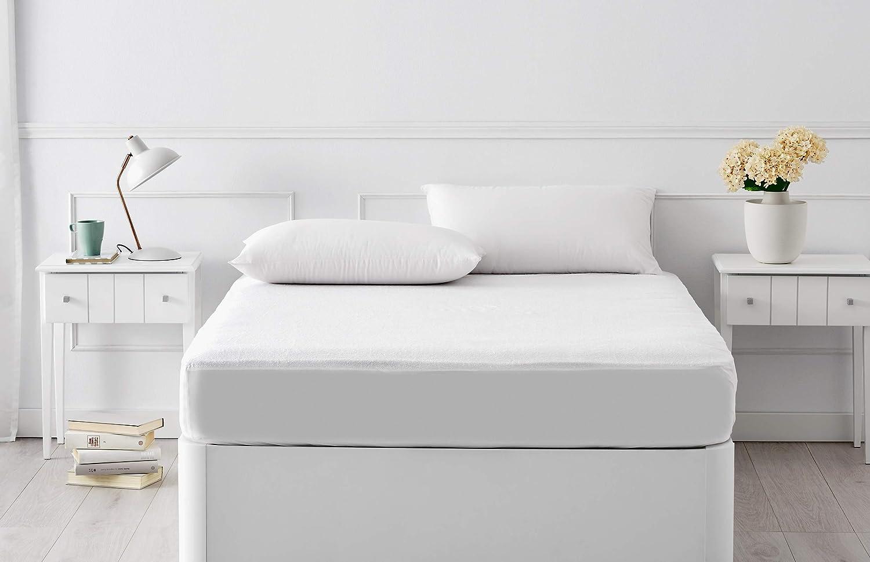 Pikolin Home - Protector de colchón, tejido rizo, algodón, impermeable y transpirable, antiácaros, 135 x 190/200 cm, cama 135 (Todas las medidas): ...