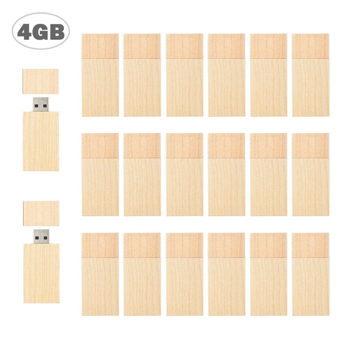 Flash Drive 4GB, USB 2.0 Wooden Flash Drive TEWENE Swivel Thumb Drives Zip Drive Memory Drive Jump Drives for Android Devices and Computers (4GB-20 Pack)