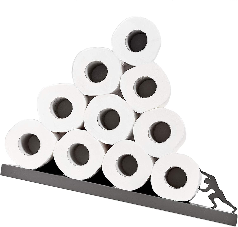 Porte-papier hygi/énique organisateur de salle de bain Sisyphe d/écor de salle de bain /étag/ère de salle de bain en m/étal gris pour rouleaux de papier toilette porte-papier hygi/énique inclin/é