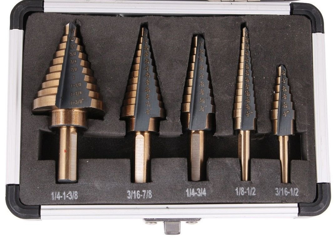 Tms 5pcs hss cobalt multiple hole 50 sizes step drill bit set tms 5pcs hss cobalt multiple hole 50 sizes step drill bit set tools w aluminum case amazon industrial scientific greentooth Gallery
