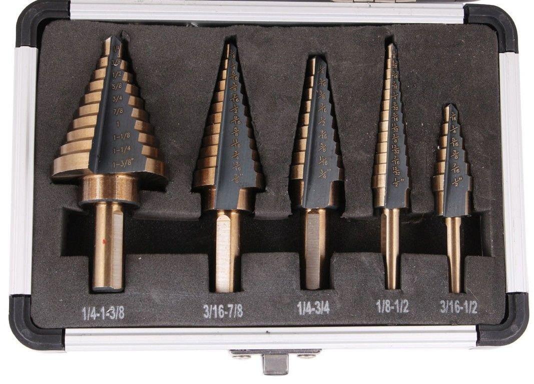 Ridgeyard 5pcs Hss Cobalt Multiple Hole 50 Sizes Step Drill Bit Set Tools with Aluminum Case