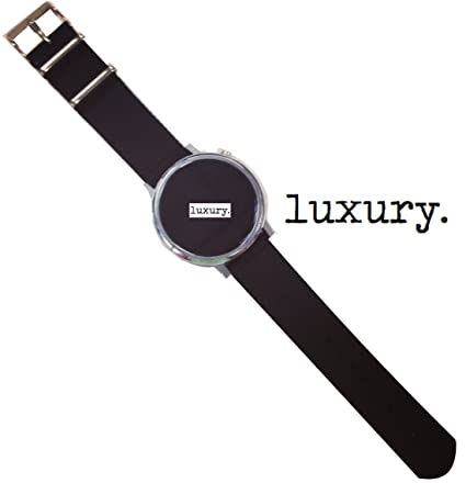 Luxury Watch Band for 20mm Pebble Time Round Smartwatch, Quick Release NATO strap, 20mm WatchBand (Black with Silver Buckle for 20mm Pebble Time ...