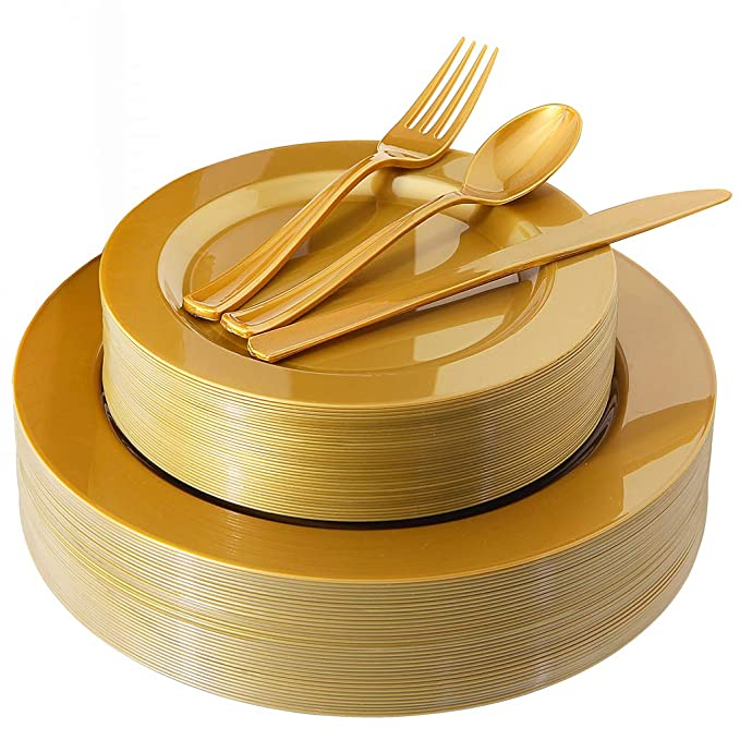 "180 Pieces Gold Plastic Plates, Premium Heavyweight Gold Disposable Silverware include: 36 Dinner Plates 10.25"", 36 Dessert Plates 7.5"", 36 Forks, 36 Knives and 36 Spoons"