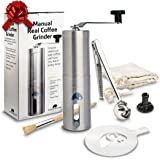 Continental Shift Manual Coffee Grinder Set - Ceramic Burr for a Precise Grind – Elegant & Easy to Use - Perfect for the connoisseur - Great for Home, Travel & Camping - Stencil & Spare Burr Lock