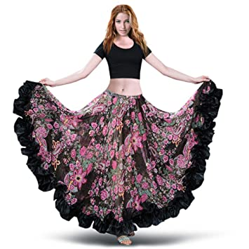 ROYAL SMEELA Falda de Gasa para Mujer Falda Maxi Full Voile Estilo Tribal Faldas de Flamenco Vestido Bohemio 360/720 Grados Vestidos de Traje de Baile ...
