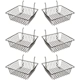 Econoco Multi Fit Black Small Wire Basket for Slatwall, Grid of Pegboard, Commercial All Purpose Basket, (Pack of 6)
