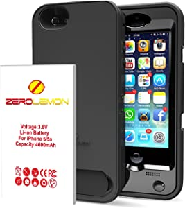 iPhone SE Battery Case, ZeroLemon 4600mAh Removable Rugged Juicer Triple Layer Extended Battery Case for iPhone SE, iPhone 5/5s +Belt Clip + Dual Kickstand + PET Screen Protector(Fits All Versions of iPhone SE, iPhone 5/5s) -[180 days Warranty Guarantee]-Black