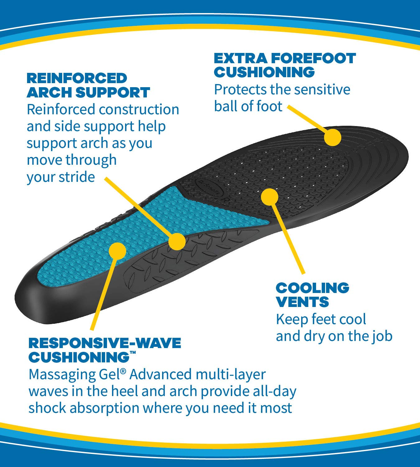 995773c2dd Amazon.com: Dr. Scholl's WORK Massaging Gel Advanced Insoles (Men's 8-14,  Women's 6-10) // All-Day Shock Absorption and Cushioning for Hard Surfaces  ...