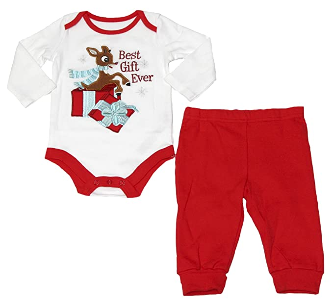 a6a9add22936 Amazon.com  Infant Rudolph The Red Nose Reindeer 2 Piece Pajama Set ...