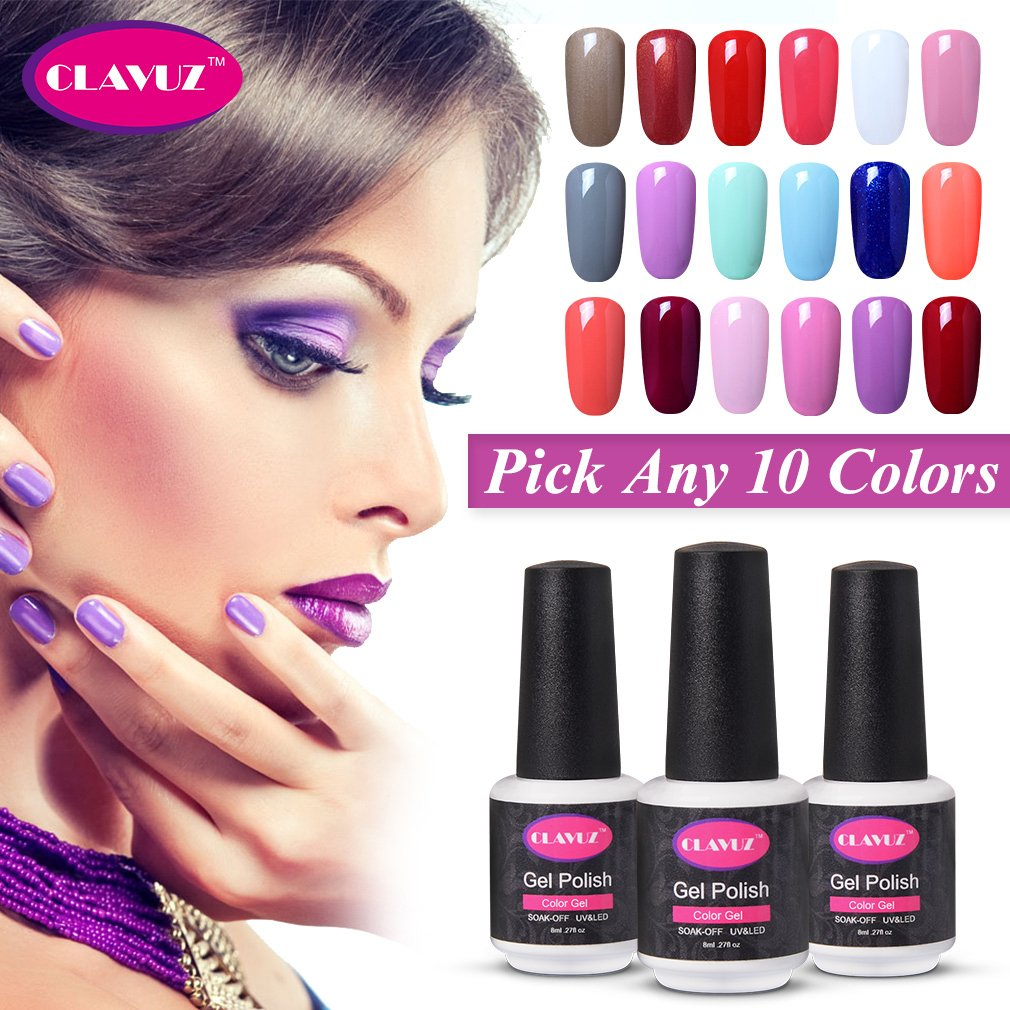Amazon.com : CLAVUZ Soak Off UV Gel Nail Polish Set Pick Any 10 ...