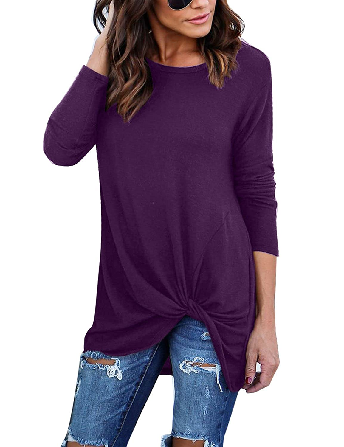 blossil Women's Casual Long Sleeves Twist Knot Front Comfy Pullover Top Shirts BS-HA3288