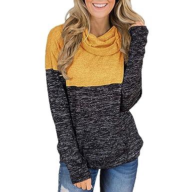 KEERADS Women Sweatshirt Cuello de Tortuga Tops Empalme Camisas ...