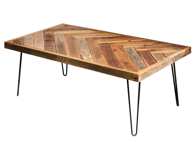 Barn wood herringbone coffee table with metal hairpin legs