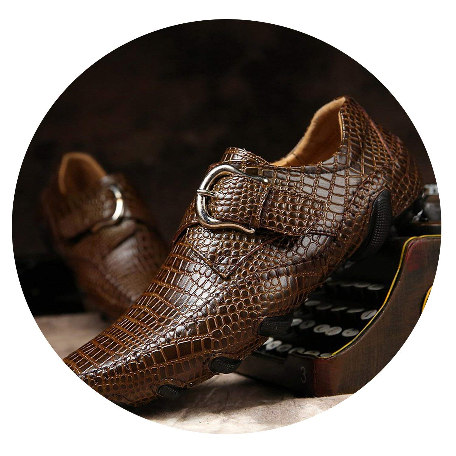 Brown ALWAYS ME Spring Men Casual shoes Genuine Leather Driving shoes Crocodile Texture Flats shoes Plus Size