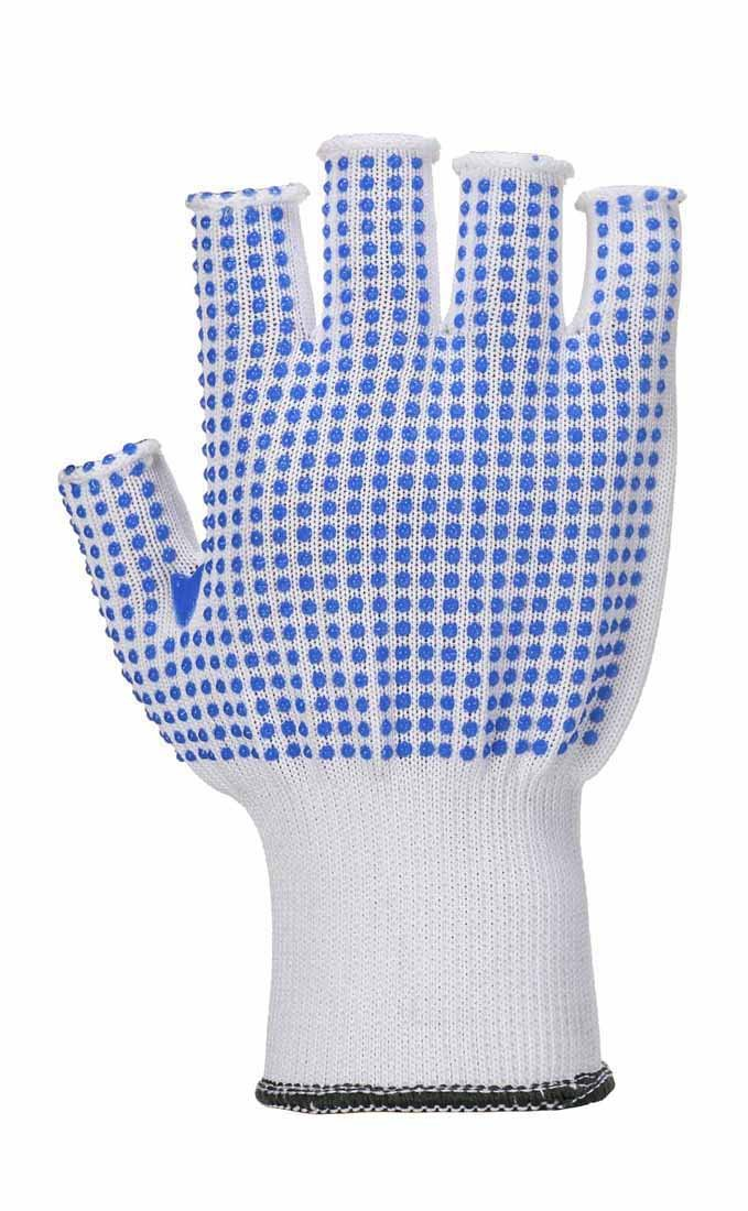 Portwest All Purpose Fingerless PolkaDot Grip Gloves (3 Pair Pack) - Blue/White - Small A114W4RS